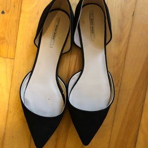 Zara Basic Black Pointed Toe Flats
